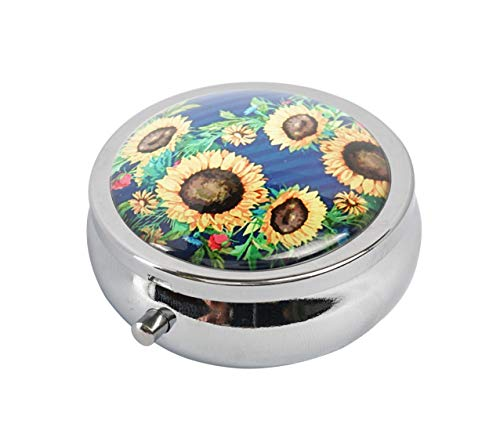 (Hiutong Sunflowers Custom Round Silver Glass Pill Case Metal Decoration Box Unique)