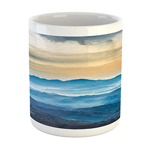 Ambesonne Abstract Oil Painting Mug, Fine Art Composition with Blue Sea, Printed Ceramic Coffee Mug Water Tea Drinks Cup, Sand Brown Eggshell Pale Sky Blue Grey Yellow