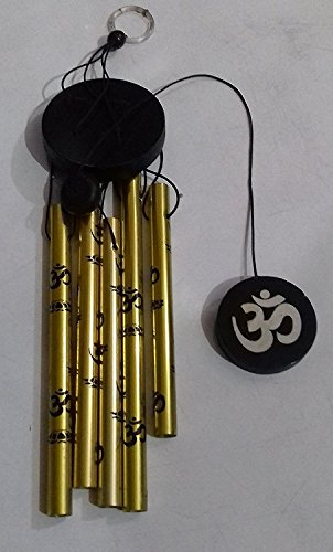 Generic Feng Shui Golden Metal OM Wind Chime with 5 Pipes and Soft Melodious Tune