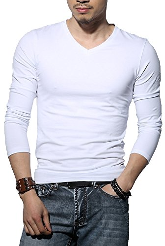 Men's Tagless Slim Fit Top Muscle Cotton V-Neck Long Sleeve Undershirts T-Shirts, L, - Sleeve Long Long Underwear