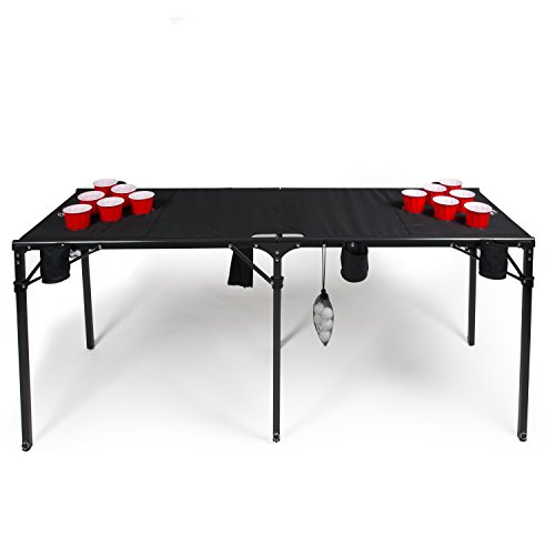 camerons portable beer pong table collapsible 6 ft beach size beirut table w cup holders 6. Black Bedroom Furniture Sets. Home Design Ideas