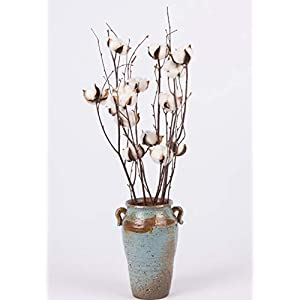 "Dongliflower Natural Cotton Ball Bolls with 25"" Birch Stem Twig Spray 4"