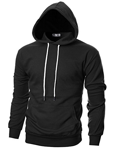 Men Pullover (Ohoo Mens Slim Fit Long Sleeve Lightweight Hoodie With Kanga Pocket/DCF010-BLACK-M)