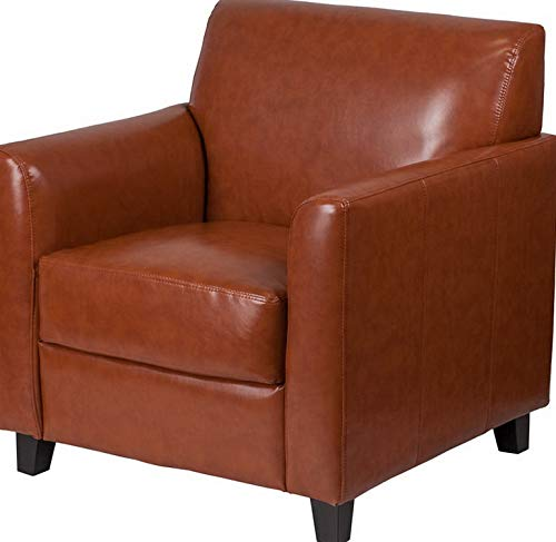 (Campton Diplomat Series Cognac Leather Reception Area Side Chair - Guest Lounge Chair | Model LNGCHR - 363)