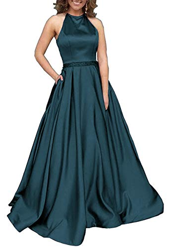 (Prom Dresses Long Halter Satin Beaded Backless Formal Evening Gown with Pockets Teal)