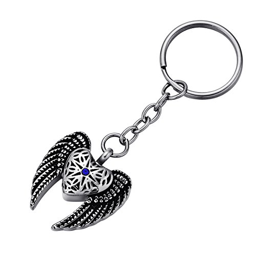 FCZDQ Blue Diamond in Star & Eagle Wing Ash Holder Keepsake Urn Pendant Jewelry Cremation Keychain ()