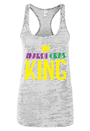 Mardi Gras King - Celebration Fat Tuesday Women's Racerback Tank Top (White, Small)