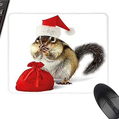 "Christmaslarge Mouse padChipmunk in Red Santa Claus Hat and Bag with Surprise Xmas PresentsComfortable Mousepad 9.8""x11.8""Light Yellow White Red"