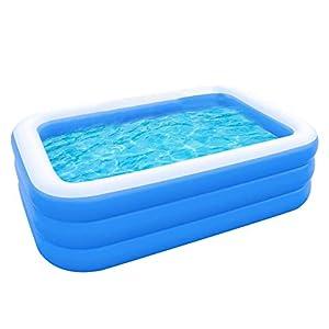 QINGCHU Piscina hinchable rectangular para jardín, piscina familiar, piscina hinchable, fiesta en el agua de verano, centro de natación para niños, adultos, exterior, Easy Set