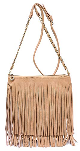 Cross Chain Tassel Rose Western Bag Shoulder Pink Fringe Vintage 031 Bag Hipster Strap Elphis Body wBFnfqz11x