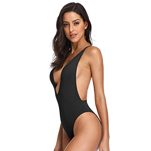 e17978b6029d Dixperfect Women's Sexy Deep V-Neck One Piece Bathing Suit Plunge ...