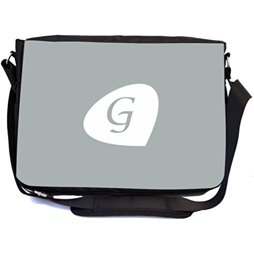 "Rikki Knight Letter ""G"" Initials Paloma Grey Color Petal Leaves Design, Messenger School Bag (mbcp-cond43475)"