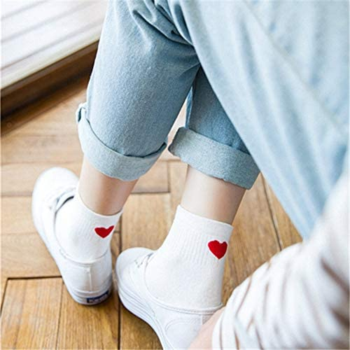 DACHENGJIN Calcetín 5 Pares de Calcetines de algodón corazón ...