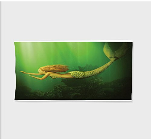 Oversized Deluxe Fox Tail (Sophie 27.5W x 11.8L Inches Custom Cotton Microfiber Ultra Soft Hand TowelMermaid Decor Mermaidith Fish Tail Swimming in The Sea Fantasy Artwork Long)