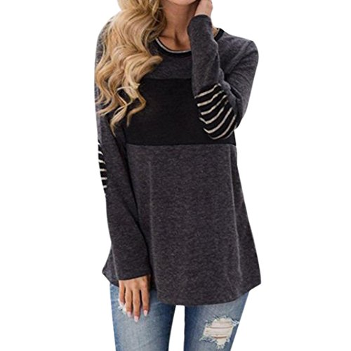 Shirts for Women Sexy,Haoricu 2018 Womens Stripe Long Sleeve T Shirt Round Neck Splice Elbow Patched Color Block Blouse Tops (XL, (Blend Elbow Sleeve)