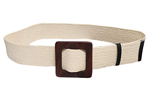 Women's Summer Beach Woven Straw Wide Waistband Wood Buckle Elastic Casual Belt (White)