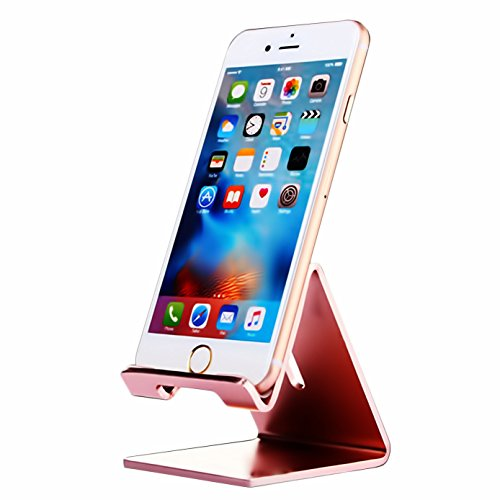 iBarbe Cell Phone Stand, Aluminum Holder,Android Smartphone, Mobile Phone for iPhone X,iPhone 8 6S,Samsung Mobile Phone,iPhone 7 Plus 5S 6 SE 5C,Galaxy S9 S7 Edge S8 etc.Charging and stand -roseGold