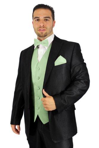 Enimay Men's Combo Pack 3pc Set Solid Vest Bowtie Hankerchief. L Mint