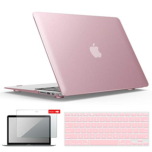 IBENZER MacBook Air 13 Inch Case, Soft Touch Hard Case Shell Cover with Keyboard Cover Screen Protector for Apple MacBook Air 13 A1369 1466 NO Touch ID, Rose Gold,MMA13MPK+2