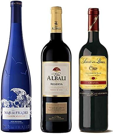 Pack de Vinos para regalar compuesto por: Mar de Frades Albariño, Viña Albali reserva 2012, Señorio de Llanos crianza 2015 valdepeñas - Ideal para navidad y ocasiones especiales, 3 botellas de 75cl