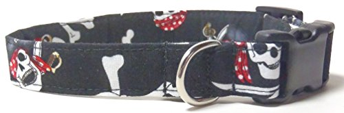 Pirates, Designer Cotton Dog Collar, Adjustable Jolly Rogers Fabric Collars (S - 3/4