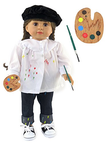 White Color My World Dress Outfit American Girl Dolls, Pants, White top, hat, And Paint Set Are Included | Fits 18