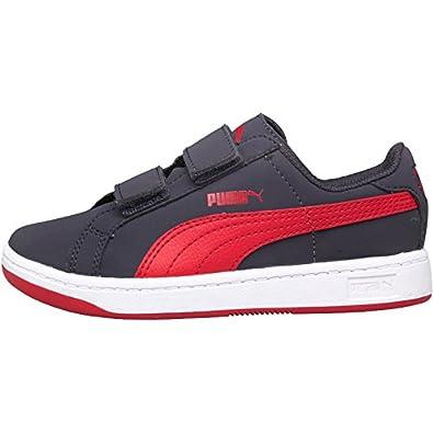 Kids Puma Smash Nubuck Velcro Trainers Grey Red Childs Junior (2 UK 2 EUR fee4da90b