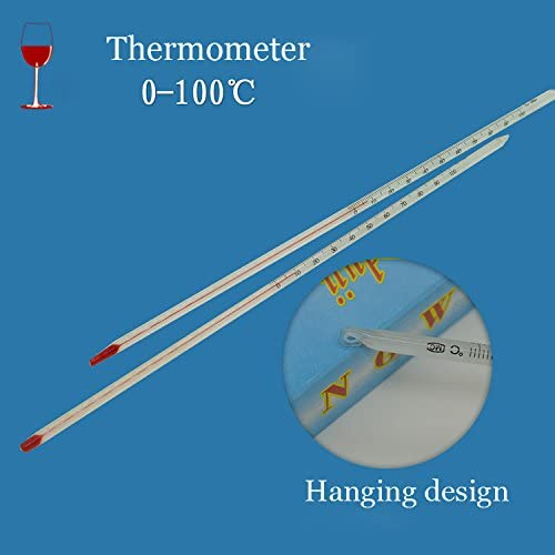 EgBert 0-100 Degree Glass Thermometer Home Brew Laboratory Red Water Filled Thermometer