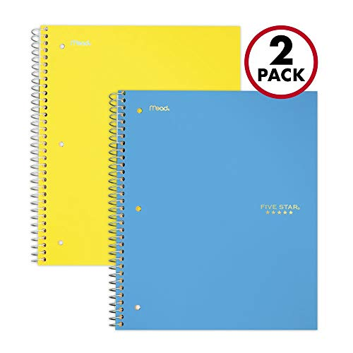 Five Star Spiral Notebooks, 5 Subject, College Ruled Paper, 200 Sheets, 11