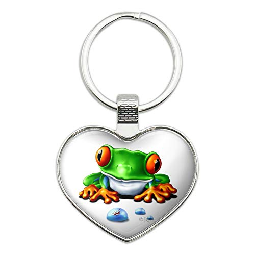 Rainforest Red Eyed Tree Frog and Ant Heart Love Metal Keychain Key Chain Ring