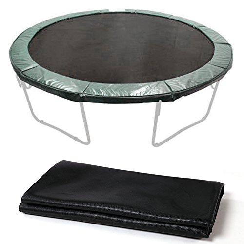 12.4′ Jumping Mat for 14ft Round Trampoline Replacement 72 Spring V-Rings,Mat Only, Black (14ft/Black)