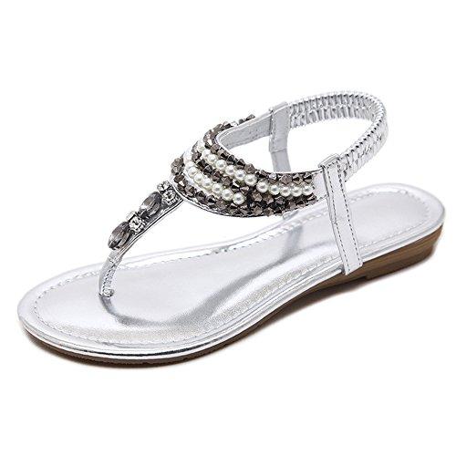 Optional Bottom Material 3 Summer Color Rhinestone Flat Fashion Feifei PU Silver Women's Shoes Sandals Comfortable CRpqpO