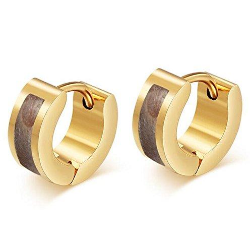 Enamel Huggie Earrings - SumBonum Jewelry Womens 18k Golden Plated Stainless Steel 2-Tone Enamel Huggie Hoop Earrings, Coffee Golden
