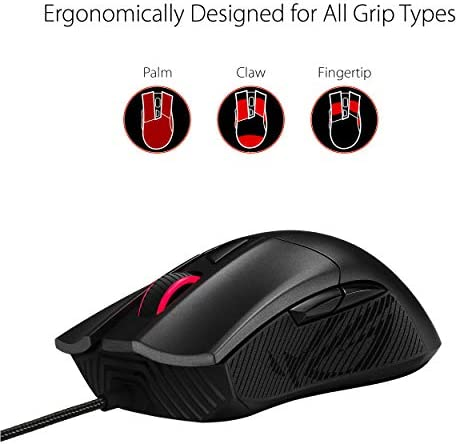 ASUS Optical Gaming Mouse – ROG Gladius II Core | Ergonomic Right-Hand Grip | Lightweight PC Gaming Mouse | 6200 DPI Optical Sensor | Omron Switches | 6 Buttons | Aura Sync RGB Lighting 41Zaj9ge5DL