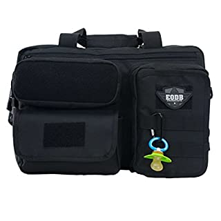 Diaper Travel Bag for Men - Elkton Outdoors Extra Durable Daddy Bag with 11 Pockets and Compartments, Molle Webbing and Shoulder Strap/Multi-Functional Travel Tactical Dad Diaper Bag