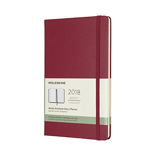 Moleskine 12 Month Weekly Planner, Large, Berry Rose, Hard Cover (5 x 8.25)