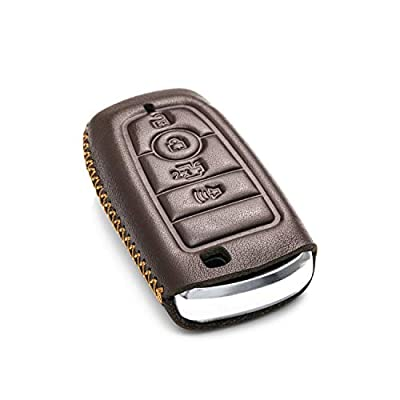 Vitodeco Genuine Leather Smart Key Keyless Remote Entry Fob Case Cover with Key Chain for 2020 Ford Fusion, Explorer, Escape, Edge, F-150, Mustang and More Models (4-Button, Brown): Automotive