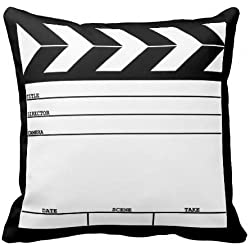 Unique Style Customized Funny Movie Clapper Special Pillows Decorative Throw Pillowcases Standard Square Zippered Pillow Cover 18x18 Inch