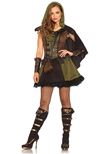 Leg Avenue Women's Darling Robin Hood Costume, Olive/Brown, Medium