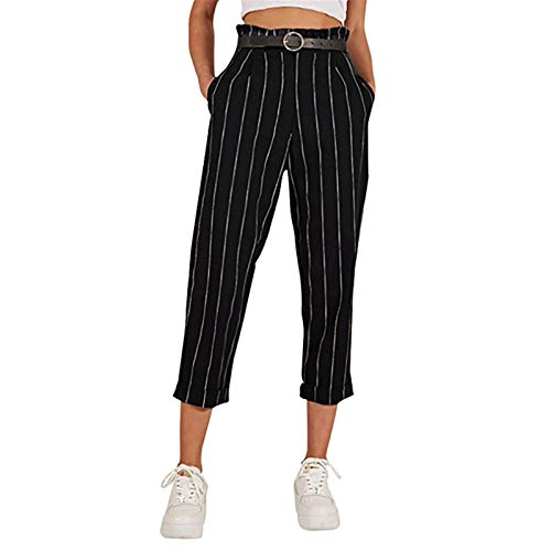 - Women's Pants, Fashion Striped Straight-Fit Slim Casual Button Trousers with Pockets