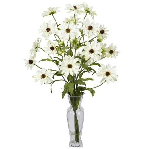 Exclusive By Nearly Natural White Cosmos w/Vase Silk Flower Arrangement
