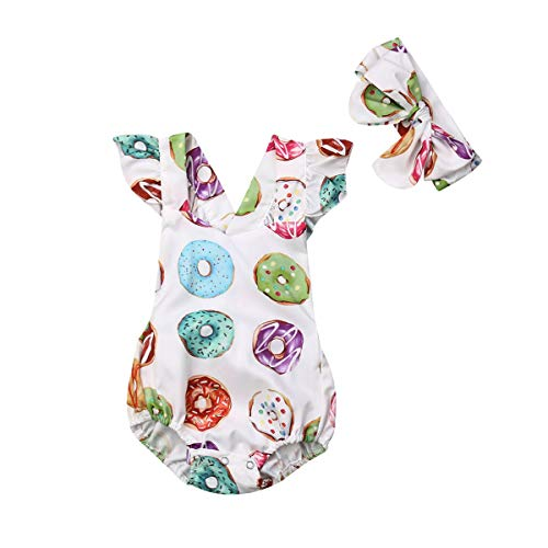 Lamuusaa Newborn Baby Girls Fly Sleeve Ruffled Romper Colorful Doughnut Bodysuit Jumpsuit Headband Summer Outfit 0-24M (12-18M, -