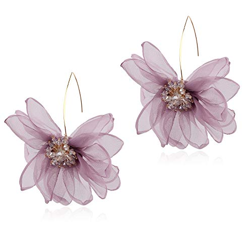 (GUYUEXING Lotus Flower Earrings, Large Fabric Petals Flower Dangle Drop Earrings for Women Girls (Purple) )
