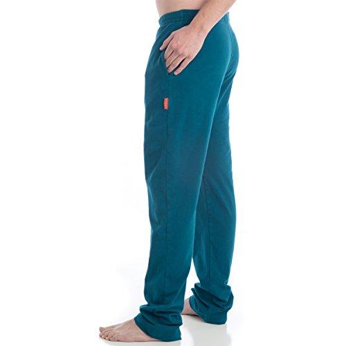 "Beckons Strength Organic Cotton Long Yoga Pants Men's X-Small (30"") Teal"