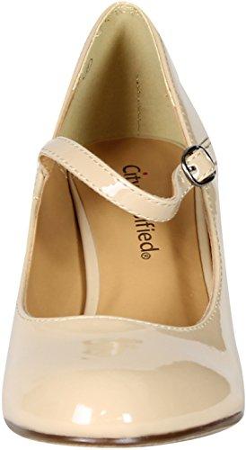 Kaylee Classic Mary Jane Vernice Punta Rotonda Tacco Medio Abito Formale Pompa Scarpe Dk-beg Pat