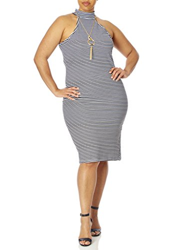 [[77806XR-BLK/WHT-2X] Love Collection Halter Dress – Junior Plus Size, Necklace Included, Stiped] (70s Look For Women)