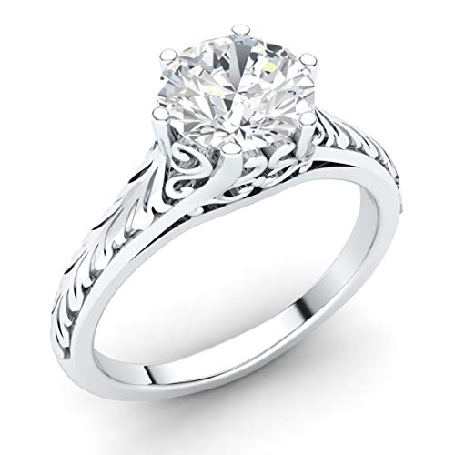 Diamondere Natural and IGI Certified Diamond Solitaire Engagement Ring in 14K White Gold | 0.58 Carat Vintage Style Ring for Women, US Size 7