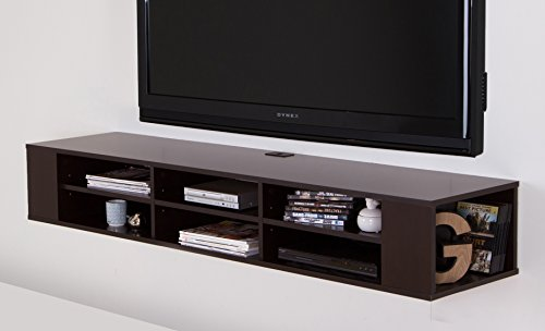 "South Shore City Life Wall Mounted Media Console - 66"" Wide - Extra Storage - Chocolate"