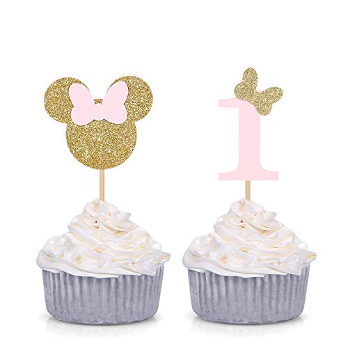 Minnie Mouse Inspired First Birthday Party Picks - Pink and Gold Baby Girl Cupcake Toppers - Set of 24]()