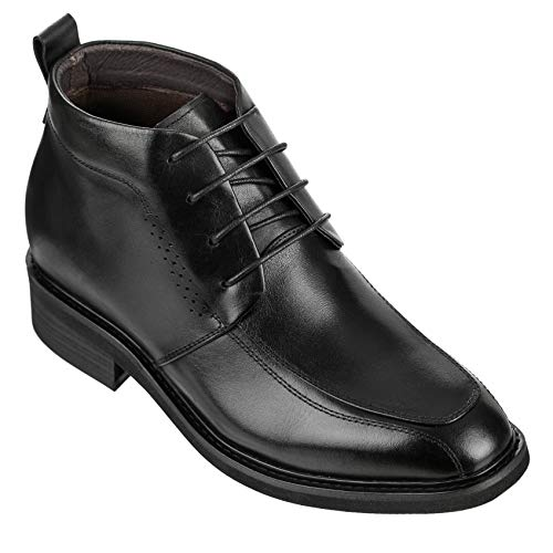CALDEN Mens Invisible Height Increasing Elevator Shoes - Black Leather Lace-up Dress Formal Ankle Boots - K28801-3 Inches Taller
